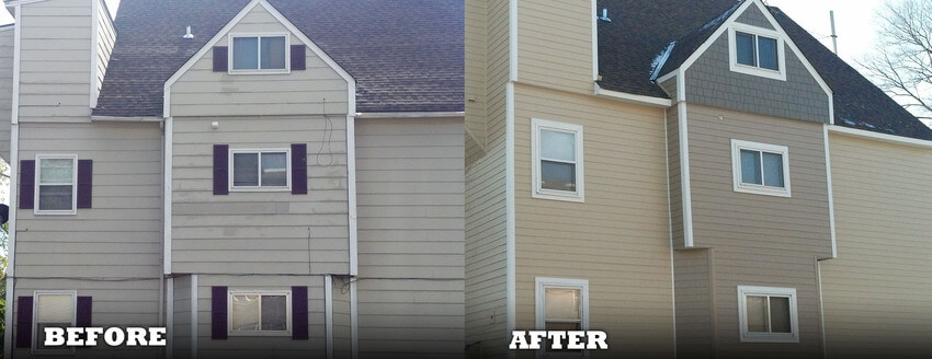 Before and After Exterior Cladding Replacement