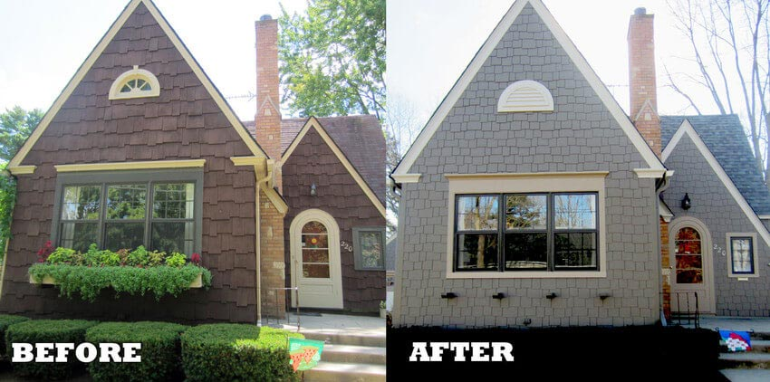 Before and After Shake Shingle Siding Replacement