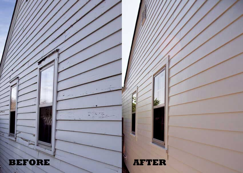 Before and After Cedar Siding Replacement